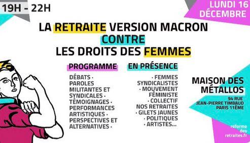 Meeting féministe contre la réforme des retraites : lundi 16 décembre à 19h à la maison des metallos