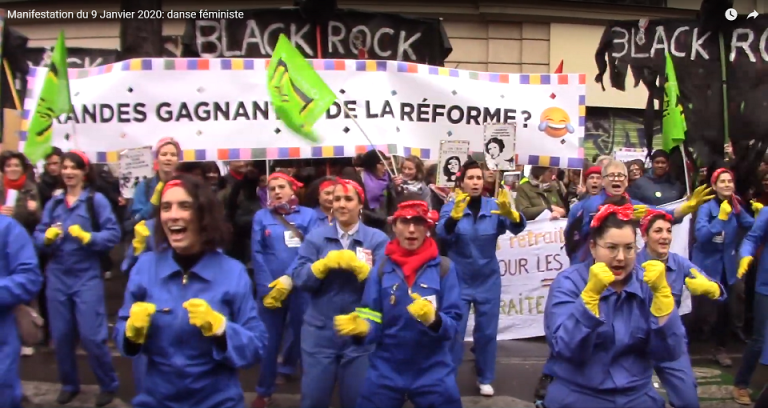 Manifestation du 9 janvier A cause de Macron : danse féministe
