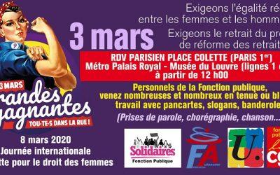 3 mars midi rassemblement unitaire Fonction Publique Place Colette