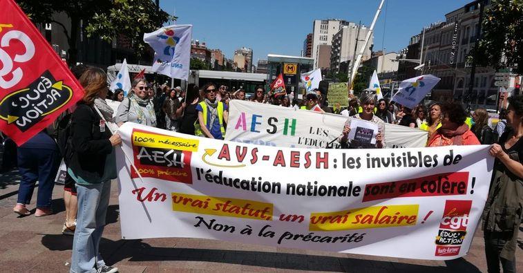 Lutte des Accompagnant·es d'Élèves en Situation de Handicap (AESH)